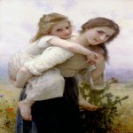 William Bouguereau (1825-1905)  Fardeau Agreable [Not too Much to Carry]  Oil on canvas, 1895  44 x 29 7/8 inches (112 x 76 cm)  Private collection